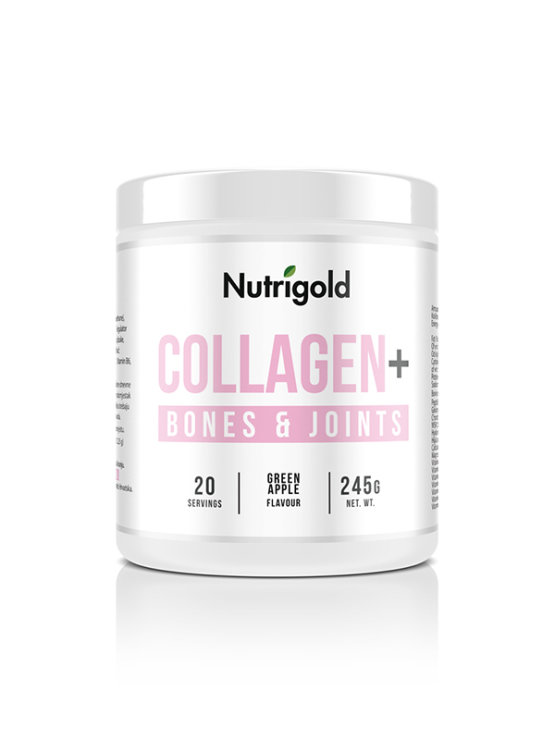 Nutrigold collagen+ for bones and joints in a 245g packaging. (apple flavoured)