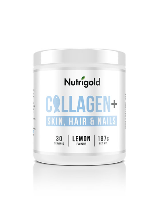 Nutrigold Collagen+ for skin, hair and nails in 187g packaging