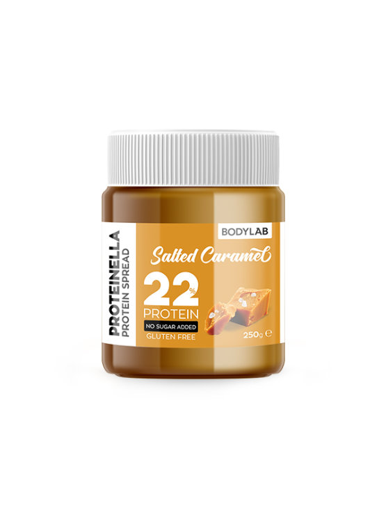 Bodylab proteinella salted caramel spread in a packaging of 250g