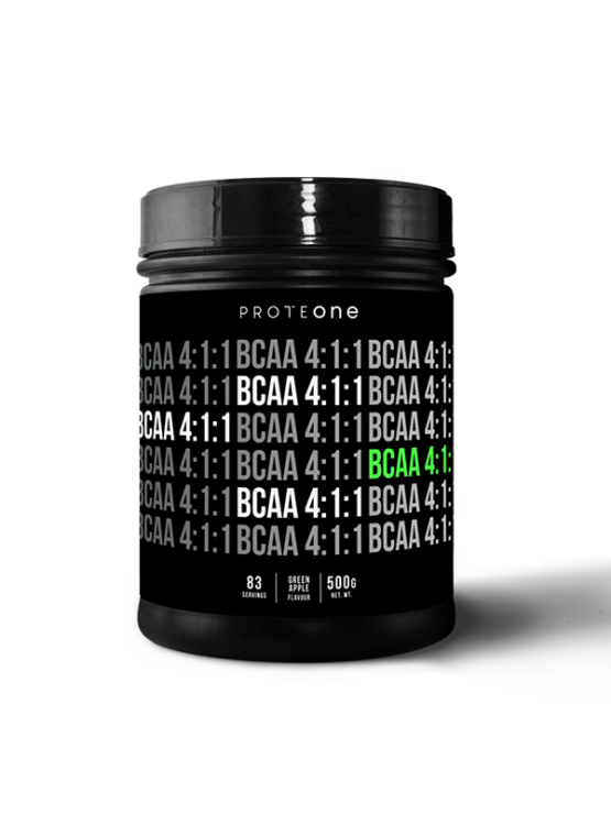 ProteOne BCAA 4:1:1 superior amino acids green apple in a 500g plastic container