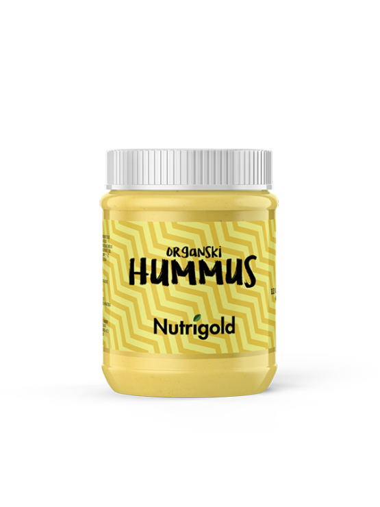 Nutrigold organic hummus in transparent jar of 260g