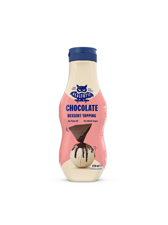 HealthyCo chocolate dessert topping in a plastic packaging of 250ml with dispenser