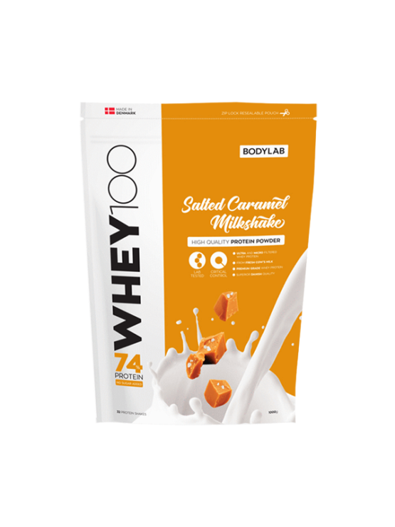 Bodylab whey 100 salted caramel in a packaging of 1000g