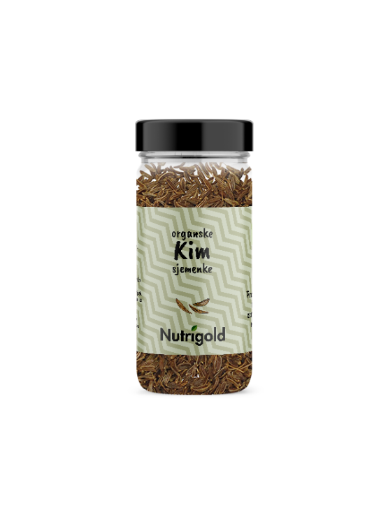 Nutrigold organic caraway seed in a glass jar of 45g