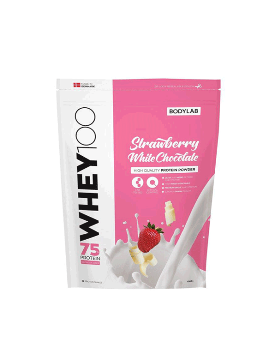 Bodylab whey 100 white chocolate and strawberry in a packaging of 1000g