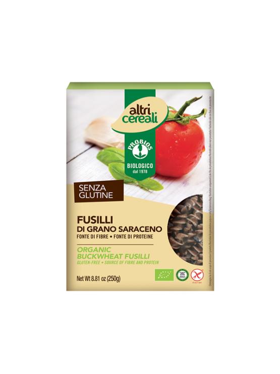 Probios organic buckweat fusilli pasta in a packaging of 250g