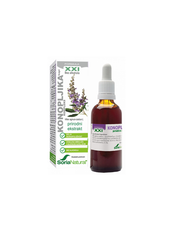 Soria Natural chaste tree (vitex) drops in a 50ml glass bottle with a dropper