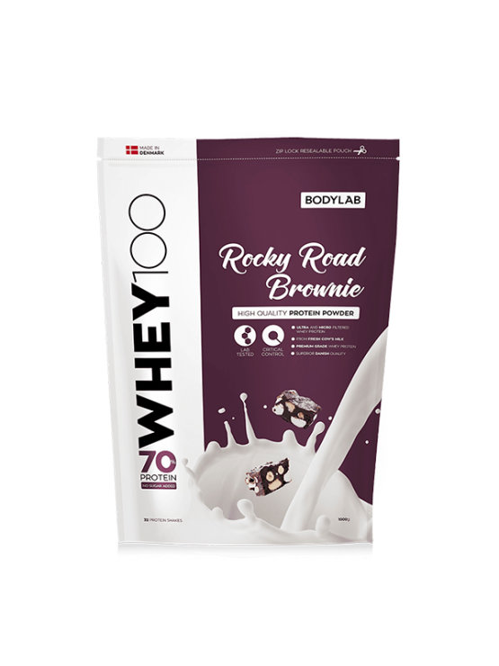 Bodylab whey 100 rocky road brownie in a resealable packaging of 1000g