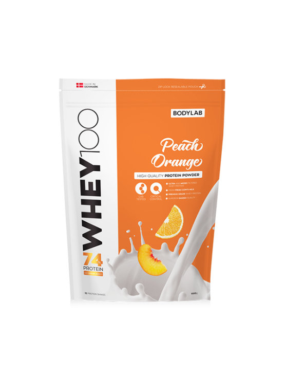 Bodylab whey 100 peach and orange in a resealable packaging of 1000g
