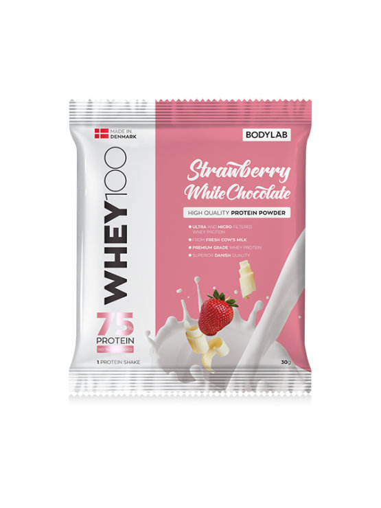 Bodylab whey 100 white chocolate and strawberry in a resealable packaging of 30g