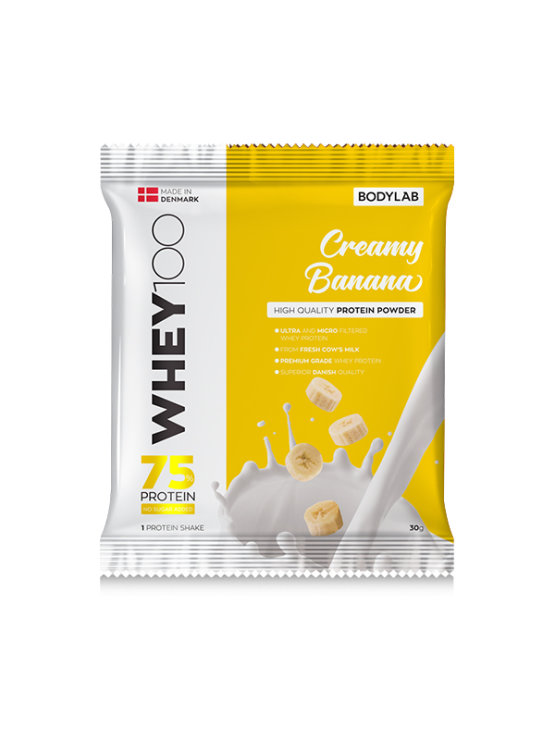Bodylab whey 100 creamy banana in a packaging of 30g