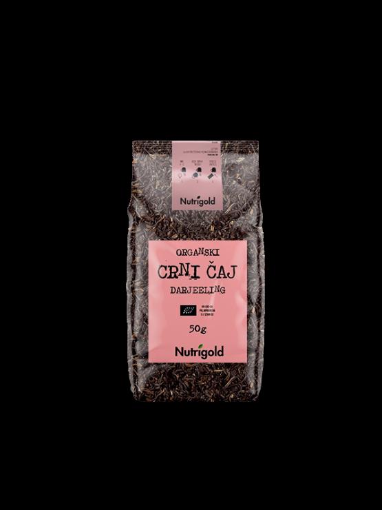 Nutrigold organic Darjeeling black tea in a packaging of 50g