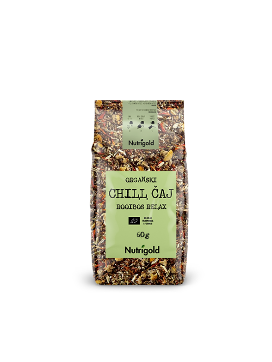 Nutrigold organic chill rooibos relax tea in a packaging of 60g