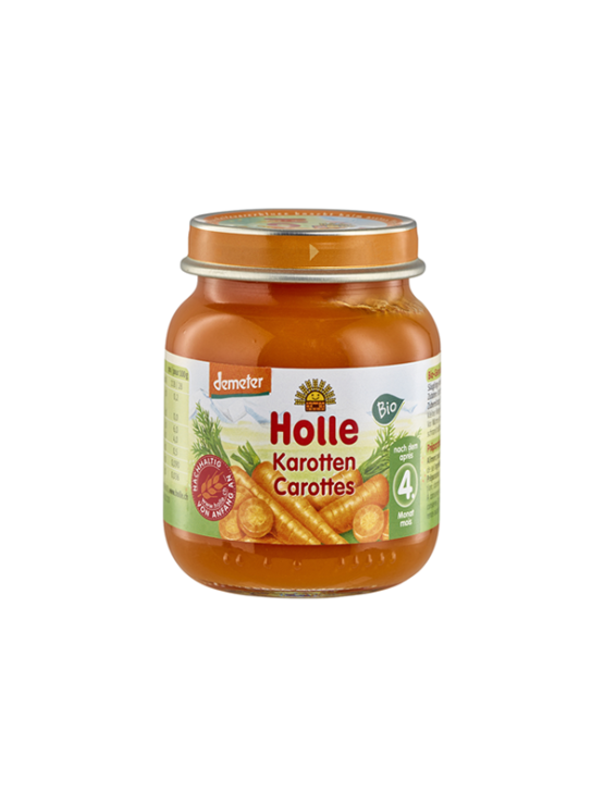 Organic Holle carrot purée in a glass jar of 125g
