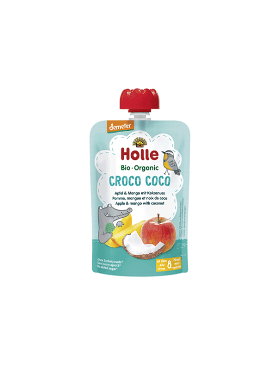 Organic Holle apple, mango and coconut purée in a resealable pouch 100g