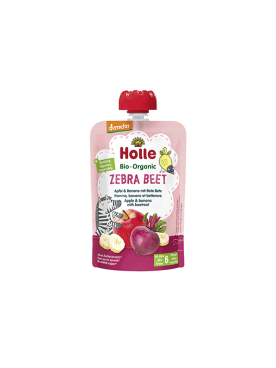 Organic Holle banana, apple and beetroot purée in a resealable pouch 100g