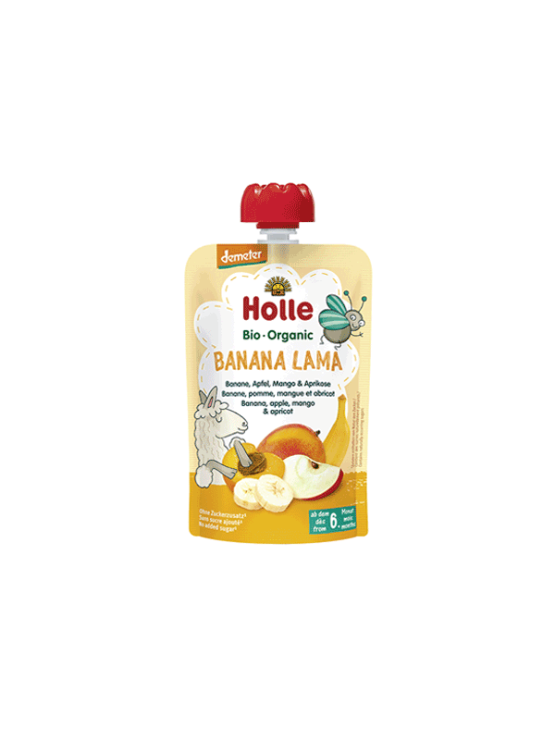 Organic Holle banana, apple, mango and apricot purée in a resealable pouch 100g