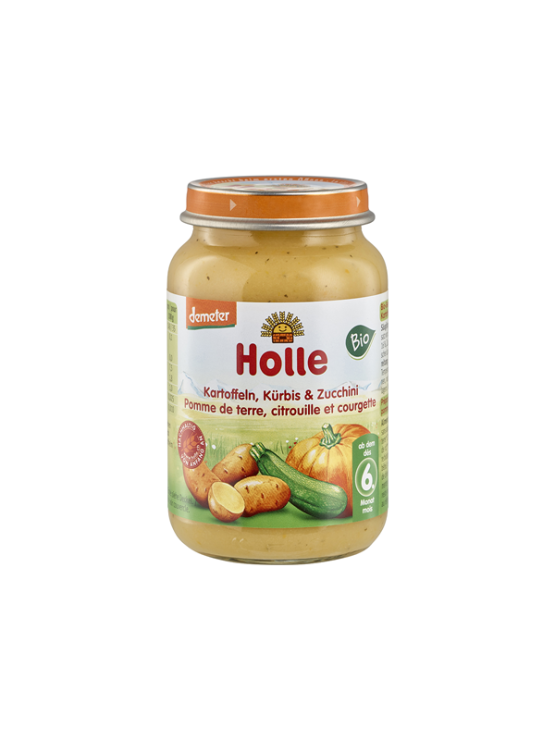 Organic Holle courgette and pumpkin purée with potato in a glass jar of 190g