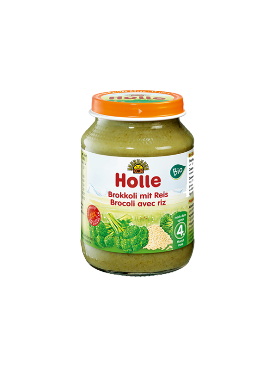Organic Holle broccoli and rice purée in a glass jar of 190g