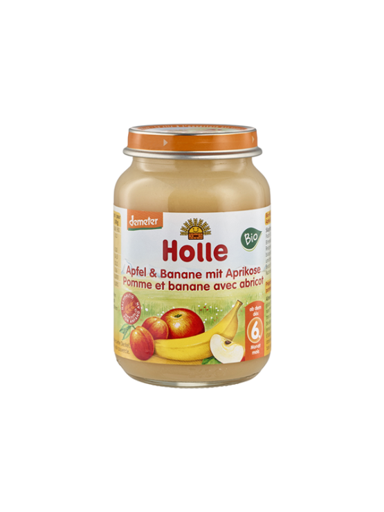 Organic Holle apple, banana and apricot purée in a glass jar of 190g