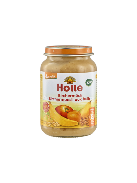 Organic Holle fruits and muesli purée in a glass jar of 220g