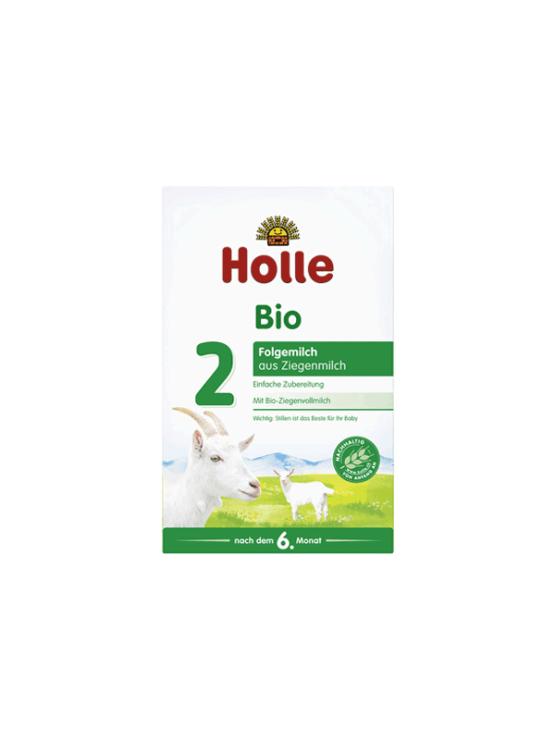 Holle organic follow on goat's milk powder in a rectangular cardboard packaging of 400g