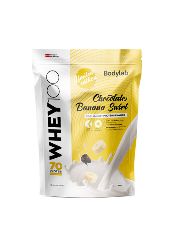 Bodylab whey 100 banana swirl in a resealable packaging of 1000g