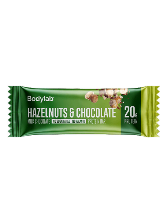 Bodylab hazelnut and chocolate protein bar in a packaging of 55g