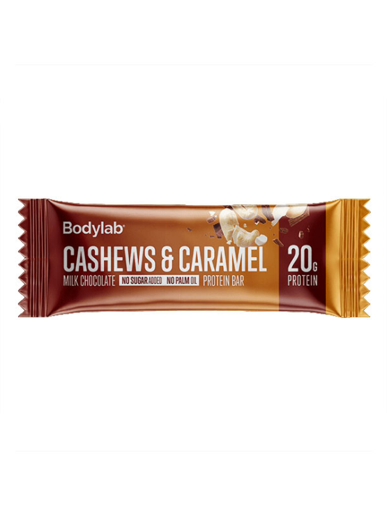 Bodylab cashew and caramel protein bar in a packaging of 55g