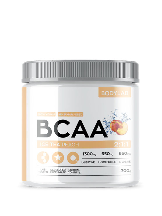 Bodylab BCAA peach iced tea in a packaging of 300g