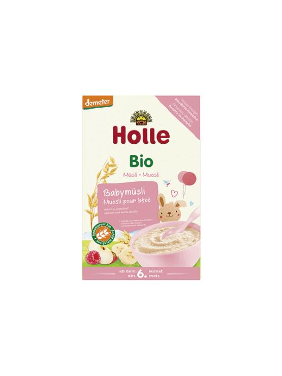 Organic Holle baby fruit muesli in a cardboard packaging of 250g