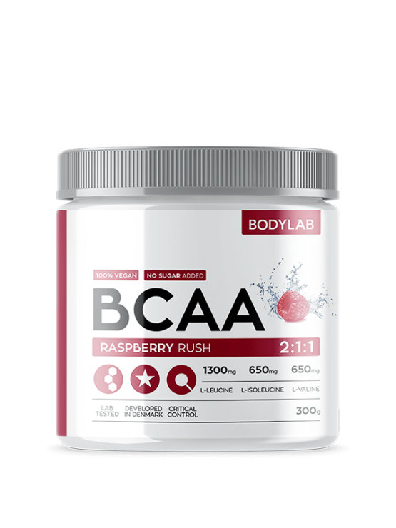 Bodylab BCAA raspberry rush in a packaging of 300g