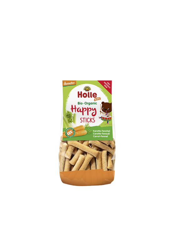 Organic Holle carrot sticks in a transparent packaging of 100g