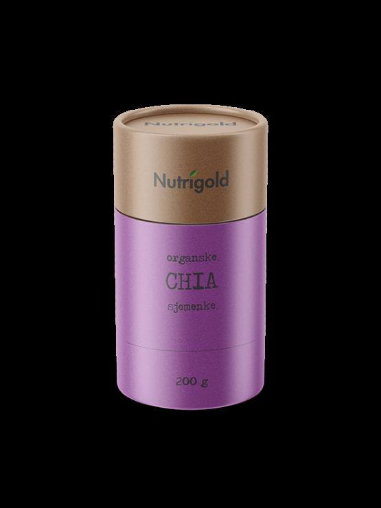 Nutrigold organic chia seeds in purple packaging of 200g