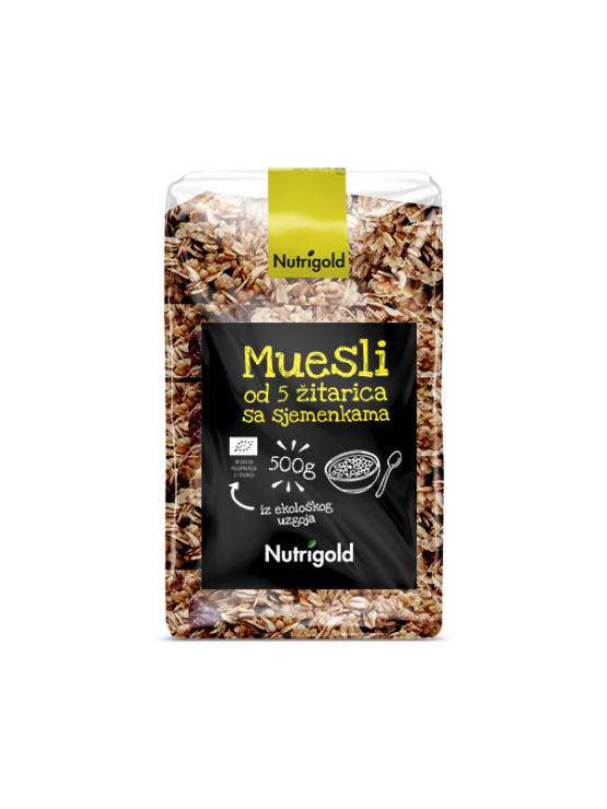 Nutrigold organic 5 grain muesli with seeds in a transparent packaging of 500g