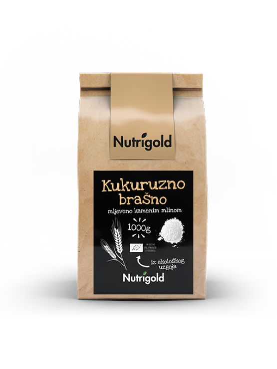 Nutrigold organic corn flour in a packaging of 1000g