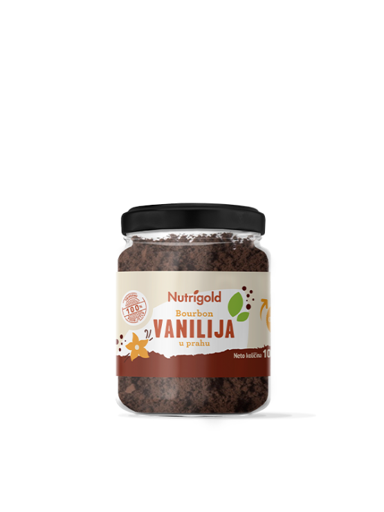 Nutrigold Bourbon vanilla powder in a glass, transparent container of 10g