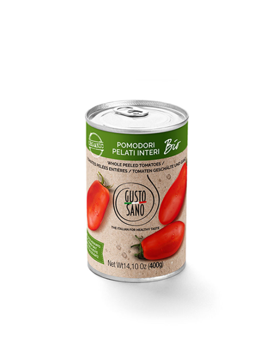 Gusto Sano organic canned peeled tomatoes 400g