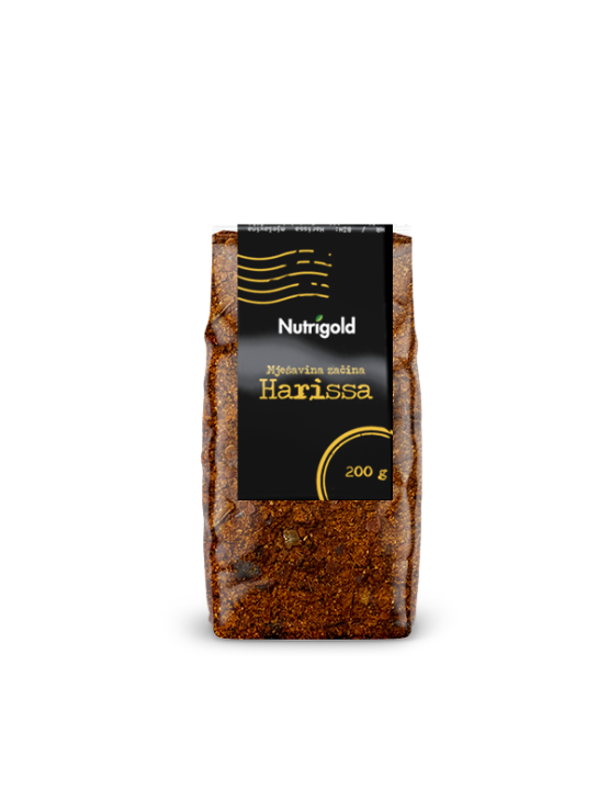 Nutrigold harissa ground spice blend in a bag containing 200g