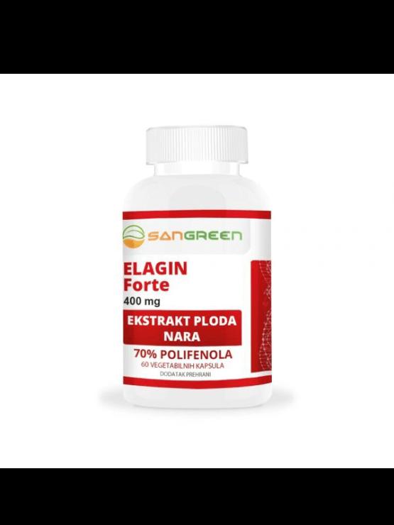 Sangreen elagin forte 400mg x 60 capsules in white plastic packaging