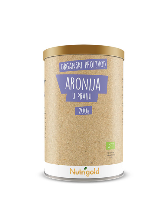 Nutrigold organic aronia powder in brown 200g packaging