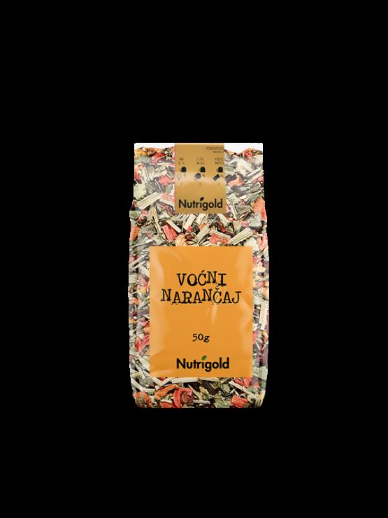 Nutrigold fruity orange tea in transparent packaging of 50 grams