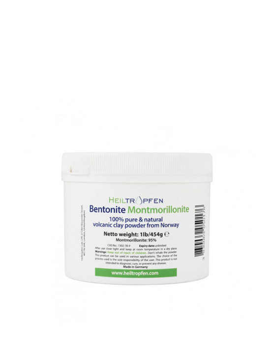 100% pure Bentonite volcanic clay powder from Heiltropfen in white plastic container of 454g
