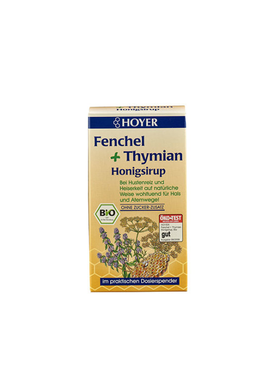 Hoyer fennel and thyme honey in dark packaging of 250 grams