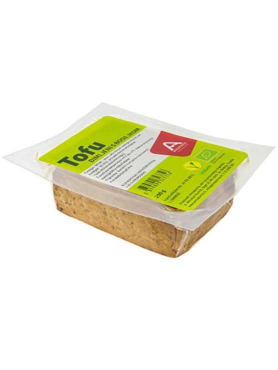 Annapurna organic smoked tofu with basil in a vacuum sealed transparent packaging of 200g