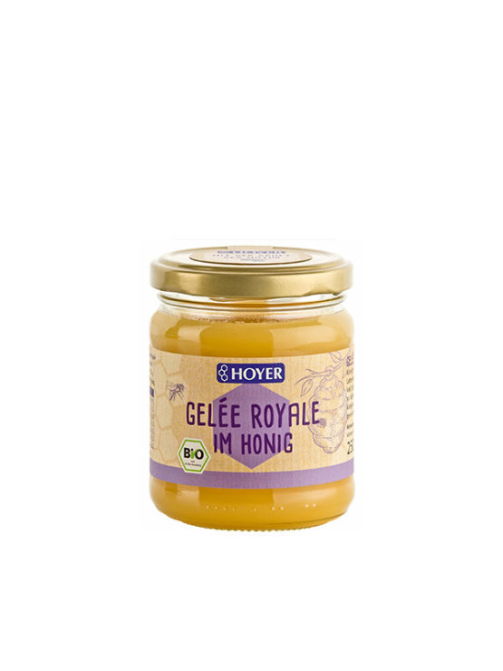 Hoyer organic honey with royal jelly in a glass jar of 250g