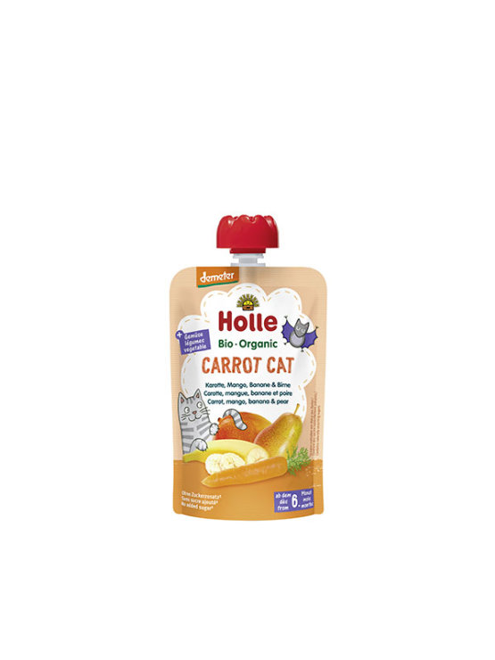 Organic Holle carrot, mango and banana purée in a resealable pouch 100g