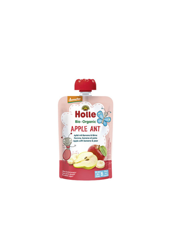 Organic Holle banana, apple and pear purée in a resealable pouch 100g