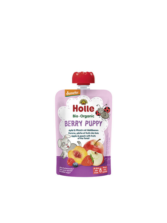 Organic Holle apple, peach and berries in a resealable pouch 100g