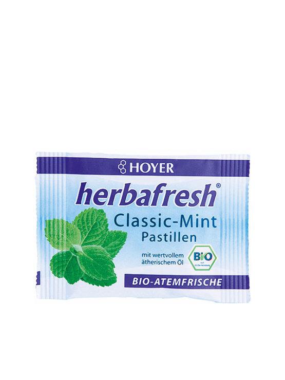 Hoyer organic fresh breath mint pastilles in a blueish bag 17g